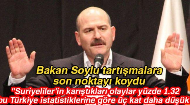İçişleri Bakanı Soylu: Suriyeliler'in karıştıkları olaylar Türkiye istatistiklerine göre üç kat daha düşük